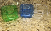 Lusso Feeder Canary food dish blue, green or clear plastic