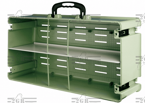 Empty Case for Travel Cages holds 10 of the single transport cages with carrying handle on top