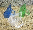 Canary food dish blue, green or clear plastic