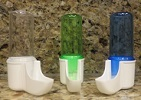 2GR 1/2 oz Plastic Water Tube for cage Birds - Dino drinker blue green or clear.