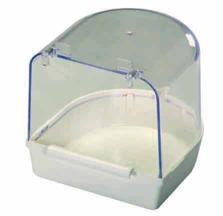 Clear Bird Bath with white molded bottom for Cage Birds outside mount