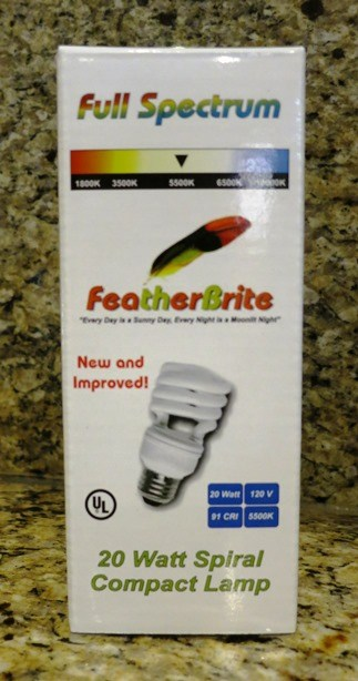 FeatherBrite 15w Full Spectrum Bulb for birds Bird Cage Lighting
