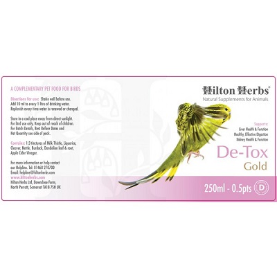 Detox Gold by Hilton Herbs - Herbal Remedy for birds
