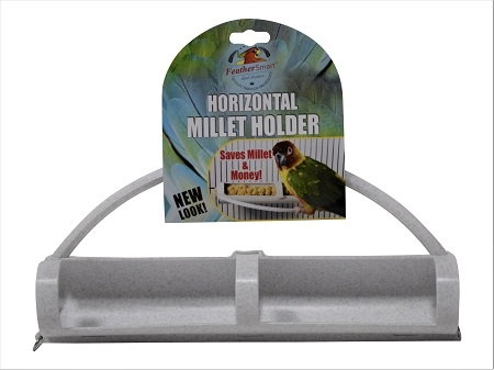 Plastic Horizonal Millet Holder with Attached perch