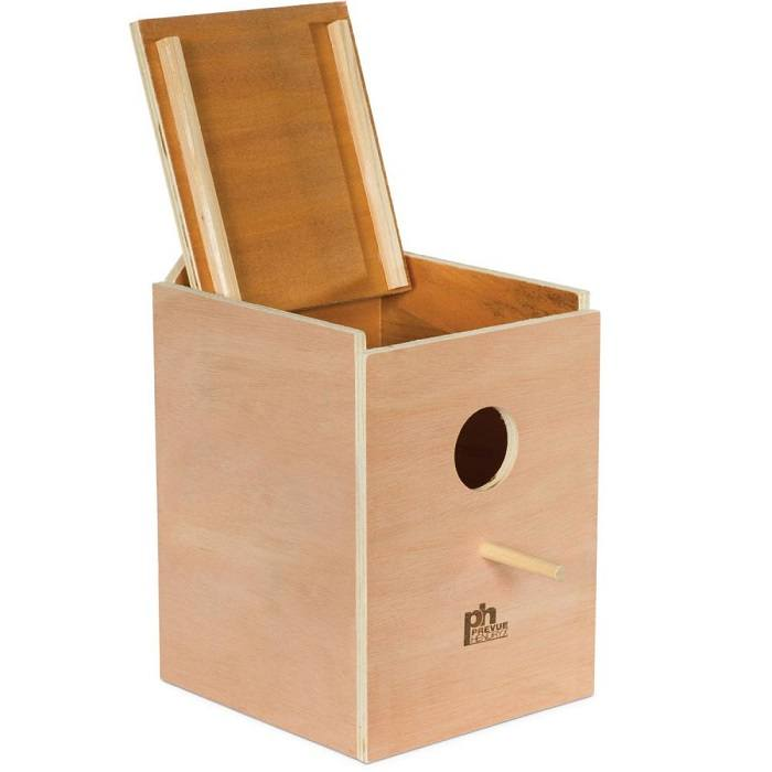 Prevue Pets Large Square Wooden Parakeet Nestbox, Parakeet Breeding Supplies