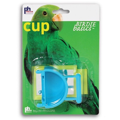 prevue half round coop cup with mirror - Finch Cage Accessories