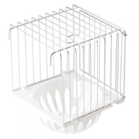 Plastic Outside Canary Nest with wire cage surround, 6in h x 4.5 w x 4.5 d, canary breeding supplies